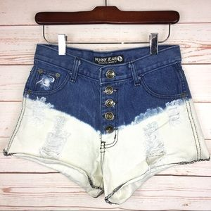 Punny Jeans Blue Ombre Distressed Denim Shorts L